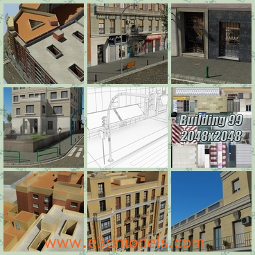 3d model the blocks in the city - This is a 3d model of the blocks in the city,which is standing between buildings and the road is narrow and long.There are stores and shops beside the road.