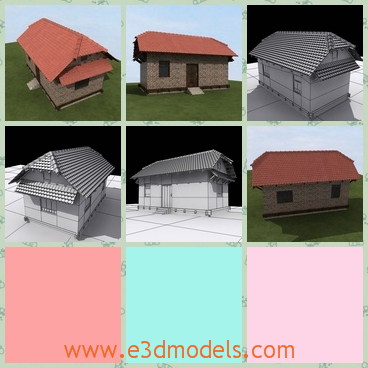3d model the brick cottage with fine textures - This is a 3d model of the brick cottage with fine textures,which is made in tiles and bricks.The building is the symbol of the village.