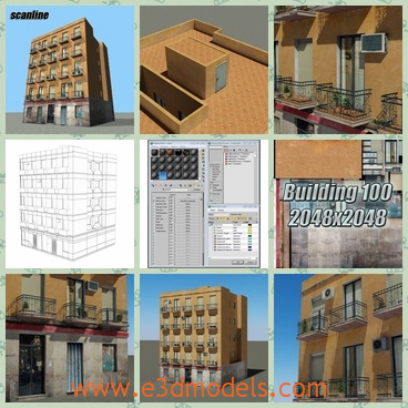 3d model the building built with bricks - This is a 3d model of the building built with bricks,which is modern and with the commercial zones.