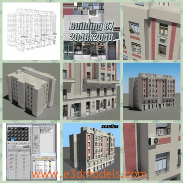 3d model the building in commercial zone - This is a 3d model of the building in commercial zone,which is built with balcony and the shops and the hotels are built around.