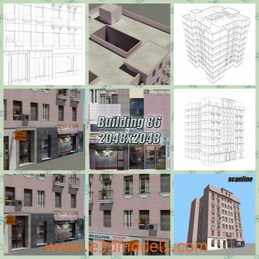 3d model the building in the commercial zone - This is a 3d model of the building in the commercial zone,which is modern and charming.THe model is near the shops and hotels.