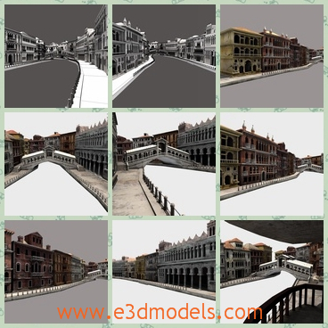 3d model the buildings of Venice - This is a 3d model of the buildings of Venice,which is the European style.The model includes some historic ones, and some fictitious.