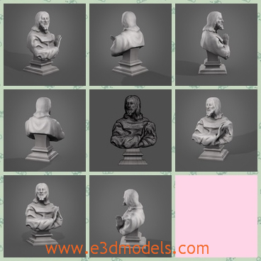 3d model the bust statue - This is a 3d model of the bust statue,which is the sculpture of a man.The model is made according to a famous philosopher in the world.