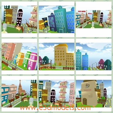 3d model the cartoon city - This is a 3d model of the cartoon city,which is colorful and pretty.The scene of the city is so different from the real one.