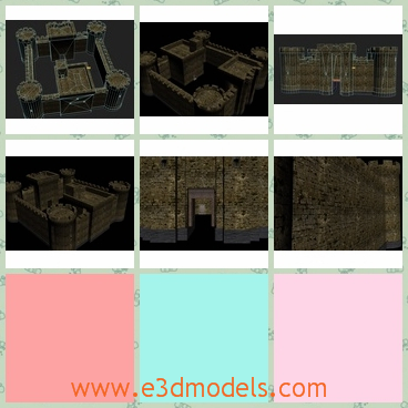 3d model the castle made of stone - This is a 3d model of the castle,which is made of stone and bricks.The model is solid and tall.The model existed in the medieval period.