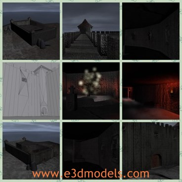 3d model the castle wall - This is a 3d model of the castle wall,which is a game environment created in 3ds max 2010 and rendered with the default scanline renderer.