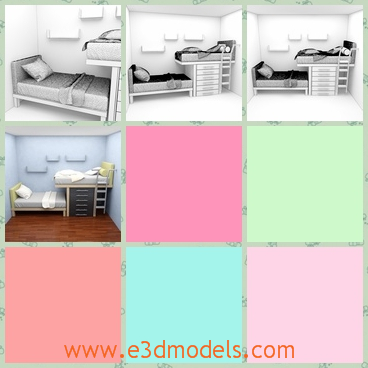 3d model the child bedroom - This is a 3d model of the child bedroom,which is small and cute and clean.The bed is place beside the wall and there is a desk near the bed.