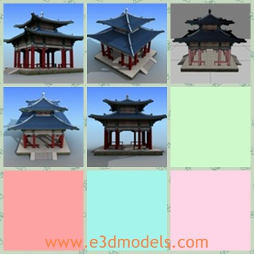 3d model the Chinese architecture - This is a 3d model of the Chinese architecture,which is the common temple in life.THe building is the most popular style in Asian countries.