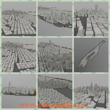 3d model the cityscape of Manhattan - This is a 3d model of the cityscape of Manhattan,which is one of the five boroughs of New York City, geographically smallest but most densely populated in the city.