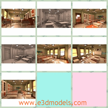 3d model the classroom of a school - This is a 3d model of the classroom of a school,which is the interior scene of the room and the desks and the chairs are tidy and clean.