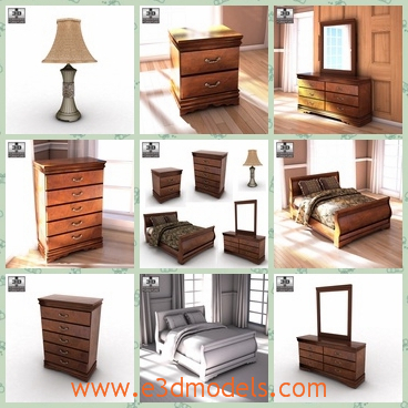 3d model the collection of the furnitures - This is a 3d model of the collection of the furnitures in the house,which includes the lamp,the chest,the bed and the nightstand.