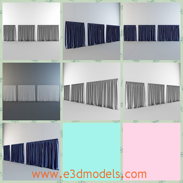 3d model the curtains-the drapes - This is a 3d model of the curtains,which is hanging on the door and it is a hig quality model .