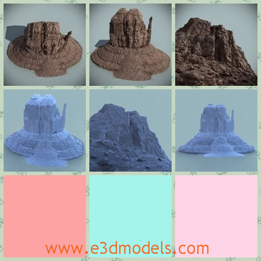 3d model the desert rock - This is a 3d model of the desert rock,which shapes a round base.The mountain is shaped by stones.