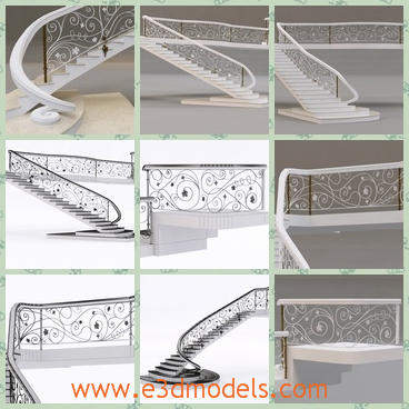 3d model the fine staircase - This is a 3d model of the fine staircases,which is the most pretty ornaments in the room.