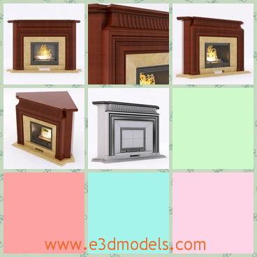 3d model the fireplace in the corner - This is a 3d model of the fireplace,which is built in the corner of the room.The model is made inf the classical style.