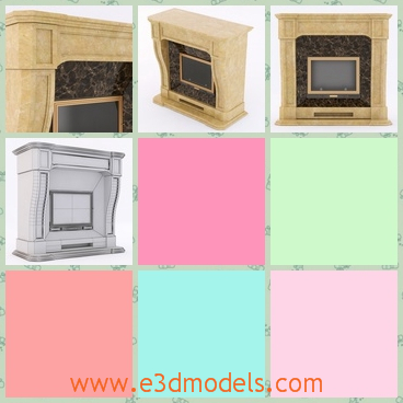 3d model the fireplace made in marble - This is a 3d model of the fireplace made in marble,which is classical and practical.The model is popular in western countries.