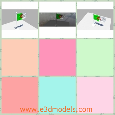 3d model the flag in Algeria - This is a 3d model about the flag in Algeria,which is made of white and green colors.