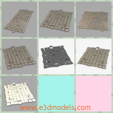 3d model the floor modul made of stone - This is a 3d model of the floor module,which is made of stone and the model is placed in the pavement .