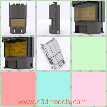 3d model the furnace - This is a 3d model of the furnace in the kitchen,which is modern and easy to move.The model is created with bricks and other materials.