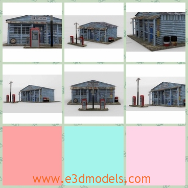 3d model the garage in the suburbs - This is a 3d model of the garage in the suburbs,which is old and shabby.The model used to be a petrol station several years ago.