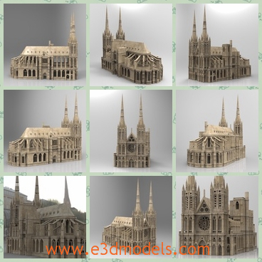 3d model the gothic cathedral - This is a 3d model of the gothic cathedral,which was built in French and the there are so many small chapels.At 108 meters tall the Cathedral Of Clermont domininates the sky line of the city of Clermont-Ferrand.