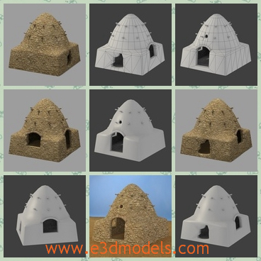 3d model the home looks like the beehive - This is a 3d model of the home looks like the beehive,which is special to see and the door is opened to four directions.