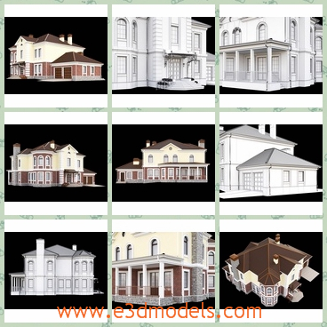 3d model the house as a villa - This is a 3d model of the house as a villa,which is large and pretty.The house is created in the European style.