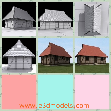 3d model the house with wooden timbers - This is a 3d model about the house with wooden timbers,which is built with high quality.The house is a storage.