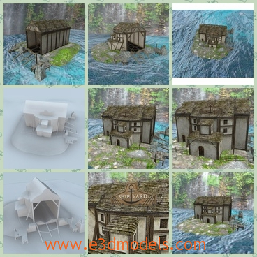 3d model the hut in the forest - This is a 3d model of the hut in the forest,which was built in the medieval time and was built besides a lake and a piece of grass.