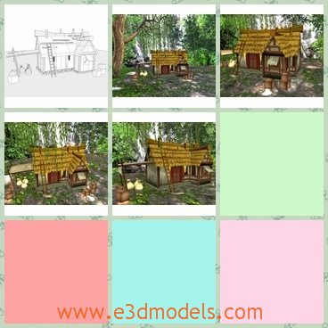 3d model the hut in the woods - This is a 3d model of the hut in the woods,which was made in the medieval time and the environment around is quiet and beautiful.