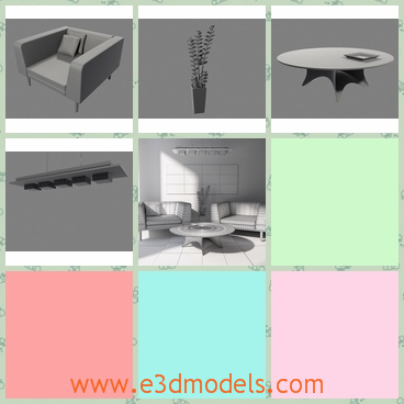 3d model the living room - This is a 3d model of the living room in modern style,which includes the round table,the sofa,the glass and many other furnitures.