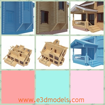 3d model the log house with 2 stories - This is a 3d model of the 2 stories log house,which is the cottage in the village and the porch of the house is stable and special.