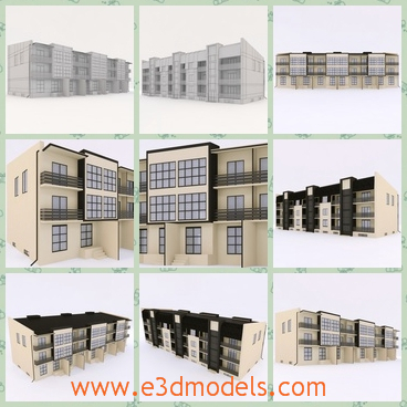 3d model the modern buildings - This is a 3d model of the modern buildings in the town,which are linked to each other and the houses are partly made of glass.
