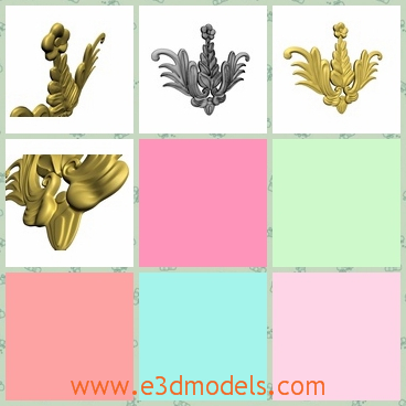 3d model the molding decoration - This is a 3d model of the molding decoration,which is golden and expensive but glorious.