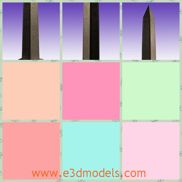 3d model the monument column - This is a 3d model of the monument column,which is tall and straight.The pillar is made of stone and it is the Egyptian style.