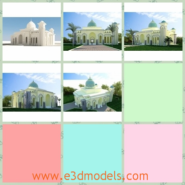 3d model the mosque building - This is a 3d model of the building of mosque,which is fine and glorious.The shape is attractive and fantastic.