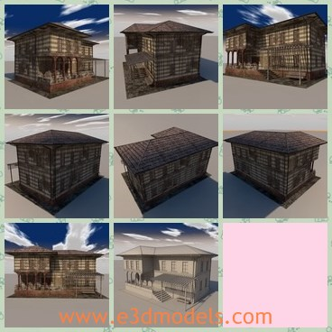 3d model the old building - THis is a 3d model house of the old building,which is wrecked and ruined.The house is made with two layers.