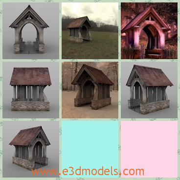 3d model the old entrance - This is a 3d model of the old gateway,which was built with a roof on the top.While most lychgates are now memorials, the lychgate is still considered as part of the churchyard.