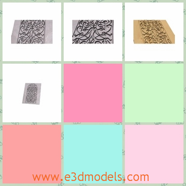 3d model the panel with ornaments - This is a 3d model of the panel with ornaments,which are fine and special.The model is designed on the surface of the panel.
