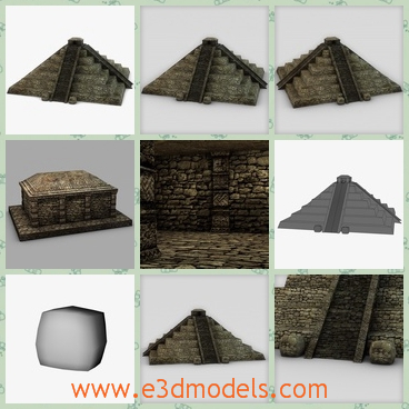 3d model the pyramin temple in Maya - This is a 3d model of the pyramid temple,which is made of stone and it is solid and low.The model is located in Mexico.