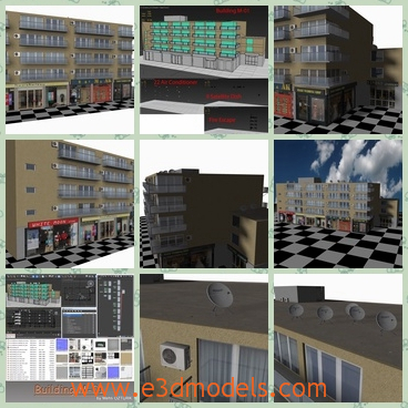 3d model the residential buildings - This is a 3d model of the residential buildings,which are modern and realistic.The textures and the shops are below it and it is convenient to go shopping.