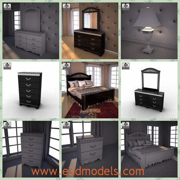 3d model the scene of a bedroom - This is a 3d model of the scene of a bedroom,which is made with fine materials and the nightstand is the newest product of the brand.