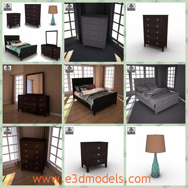 3d model the scene of a room - This is a 3d model of the scene of a bedroom,which is large and places so many furnitures,for example the dresser,the bed,the lamp and the nightstand.