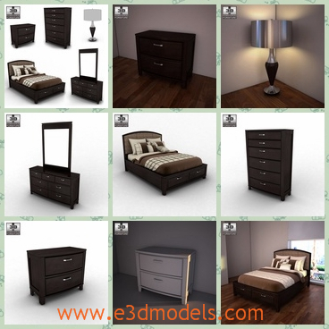3d model the scene of the bedroom - This is a 3d model about the scene of the bedroom,which is large and spacious.The model includes the nightstand,the bed,the chest and the lamp.