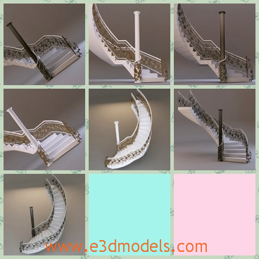 3d model the single staircase - This is a 3d model of the single staircase,which is made of marbles and the it is made in the classical style.