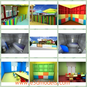 3d model the spacious school rooms - This is a 3d model of the spacious school rooms,which is painted colorful and charming.The room is for kids and the scene is attractive.
