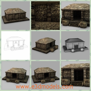 3d model the stone house - This is a 3d model of the stone house on the groun,which is in the ancient Maya villages.The building is solid and safe to live.