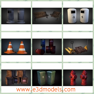 3d model the street signs - This is a 3d model of the street sings in the urban areas,which are the elements of the traffic and there are also other stuffs,such as the bench,the firehydrant,the bollard and the conditioner.