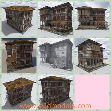 3d model the three-layer house - This is a 3d model of the three-layer house,which is rustic and abandoned.