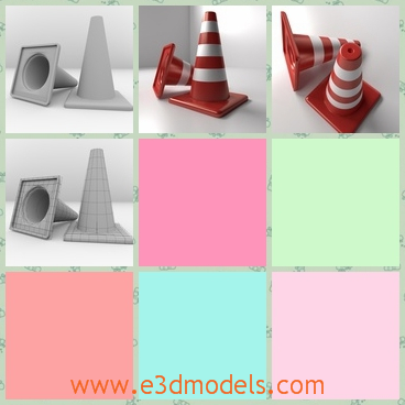 3d model the traffic cones on the ground - This is a 3d model of the traffic cones on the ground,which is striped with white and red.The two of them are lying on the ground.